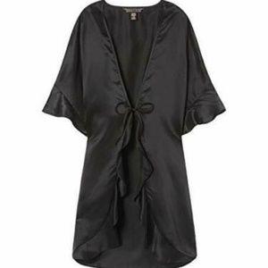 Victoria's Secret black satin wrap coverup OS $58